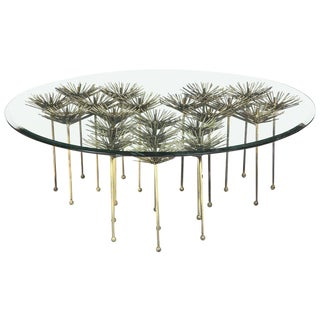 Brutalist Gilt Floral Table With Glass Top For Sale