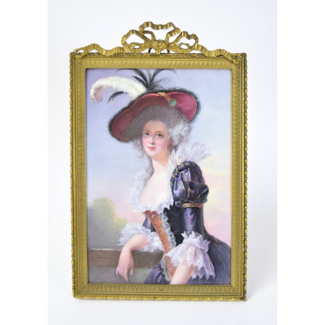 19th Century Antique O. Brun Elisabeth of France Continental Hand-Painted Porcelain Plaque For Sale - Image 10 of 10