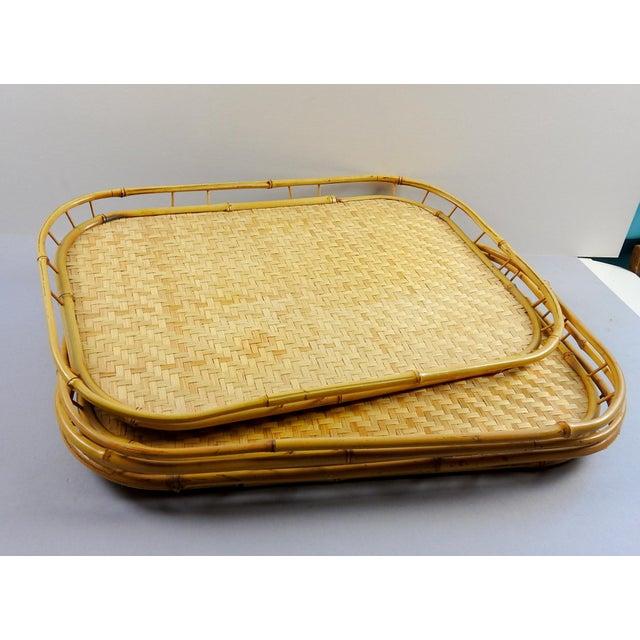 Boho Chic Tiki Bamboo Rattan Trays - Set of 4 For Sale - Image 3 of 4