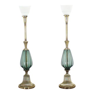 Pair of Brass and Murano Glass Style Modern Table Lamps Fluted Metal Bases For Sale