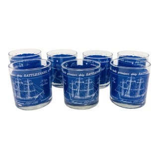 Vintage Revolutionary Rattlesnake Nautical Ship Cocktail Tumblers For Sale