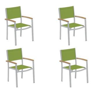 Outdoor Sling Arm Chair, Natural and Green (Set of 4) For Sale