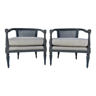 Bamboo Silk Upholstered Cane Back Chairs - A Pair For Sale