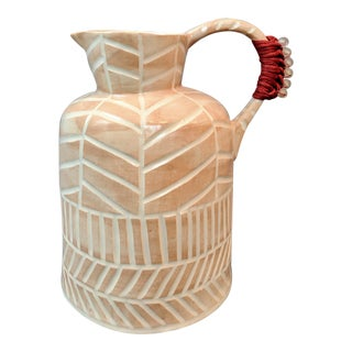 Boho Chic Stoneware Vase and Pitcher For Sale