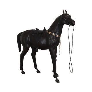 Large Vintage Hand Crafted Leather Horse Statue For Sale