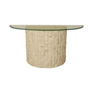 Postmodern Tessellated Marble Stone Demilune Glass Top Console Table For Sale