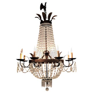 Antique Rustic Metal Eight-Light Chandelier by Niermann Weeks