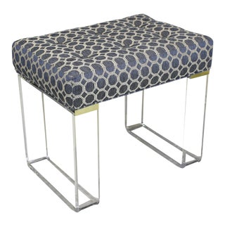 Infinity Style Blue Brocade & Lucite Bench For Sale
