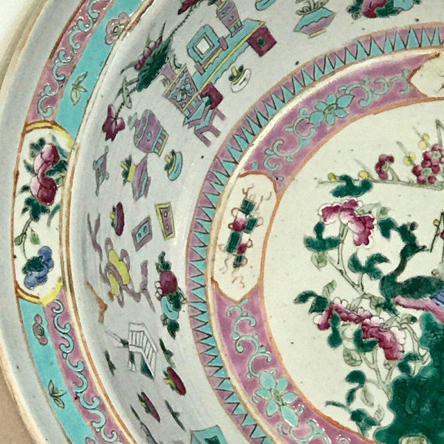 Large Qing Dynasty Famille Verte Peacock and Vase Motif Bowl For Sale In West Palm - Image 6 of 13