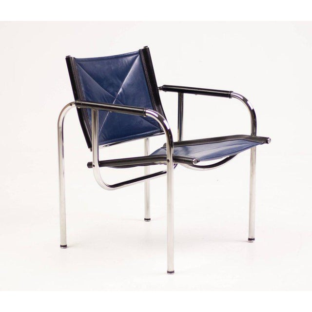 Contemporary Hans Eichenberger for Strassle Blue Leather Armchairs For Sale - Image 3 of 10
