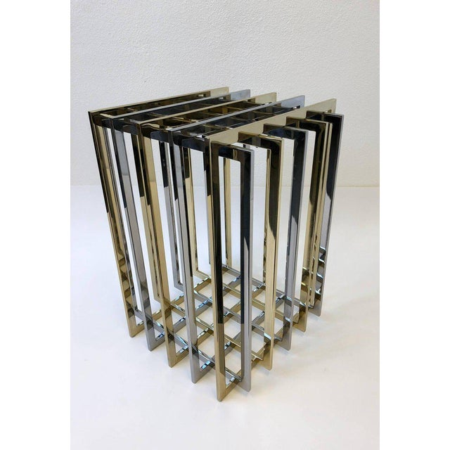 Brass and Chrome Dining Table Base by Pierre Cardin For Sale In Palm Springs - Image 6 of 11
