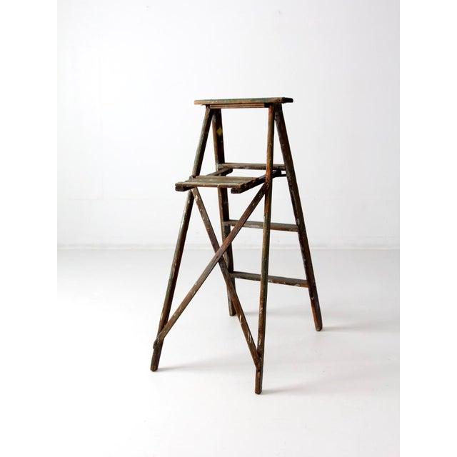Vintage Green Wood Ladder For Sale - Image 4 of 9