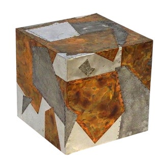 Metal Patchwork Brutalist Side Table For Sale
