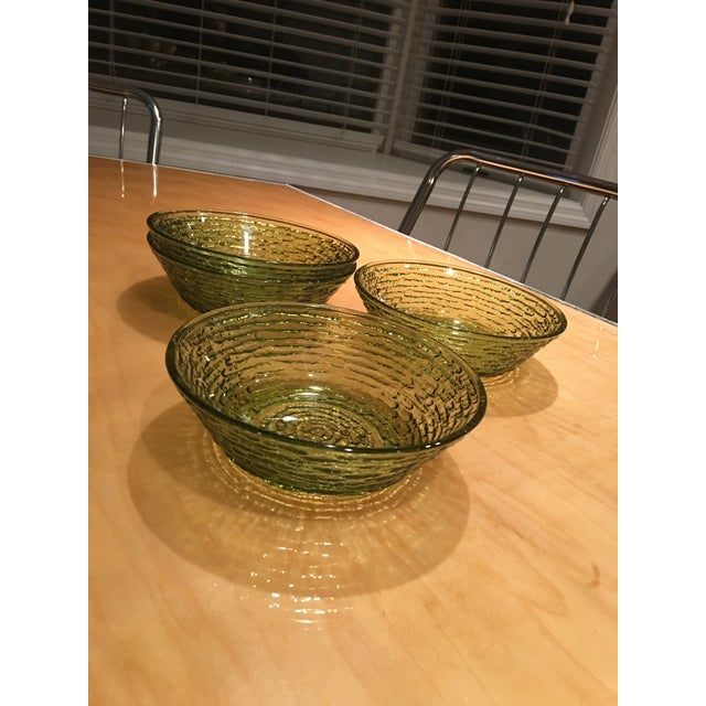 Vintage Libbey Rock Sharpe Olive Green Bowls - Set of 4 For Sale - Image 4 of 7