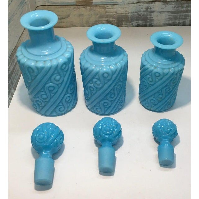 Vintage Portieux Vallerysthal Blue Opaline 3 Piece Swirl Vanity Set Perfume Bottles. This is a super rare set and it...