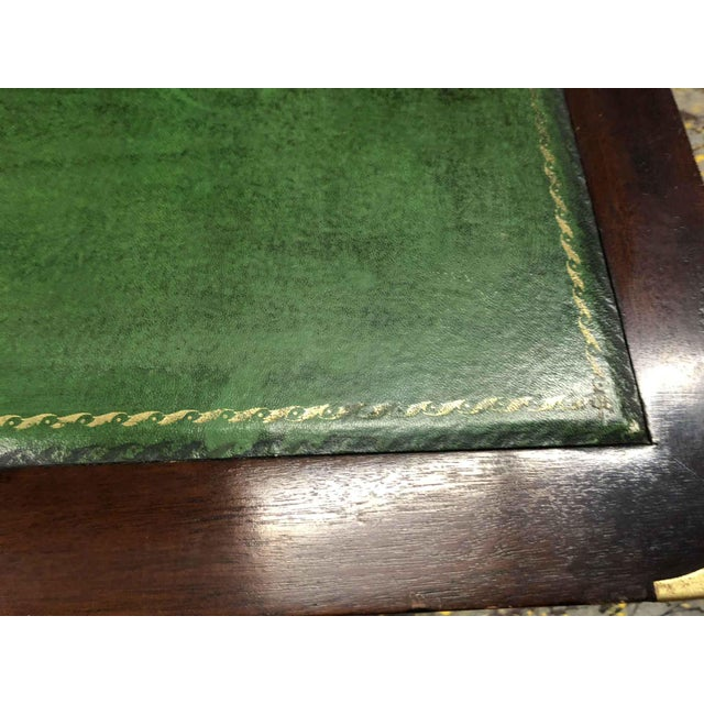 1970s English Campaign Mahogany Brass & Green Leather Partner Desk For Sale In Chicago - Image 6 of 8