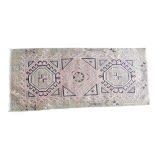 Vintage Turkish Doormat Tribal Handmade Wool Rug 1′8″ × 3′6″ For Sale