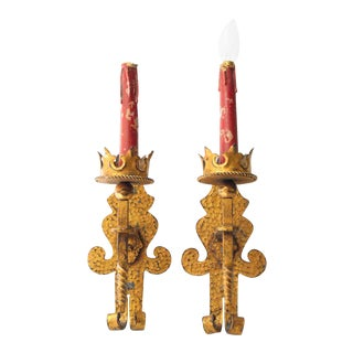 Hammered Iron Sconces With Gold Tone Finish - a Pair For Sale