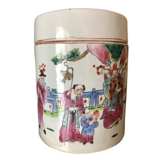 19th Century Famille Rose Mandarin Porcelain Tea Caddy For Sale