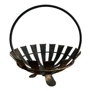 Modern Spanish Parcel-Gilt Wrought Iron Fruit Basket For Sale