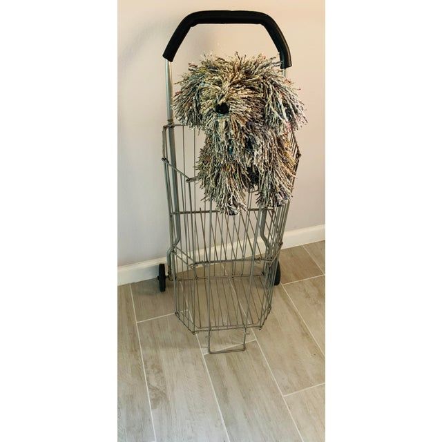 Vintage Metal Rolling Flea Market Shopping Basket Cart, Collapsible 1950s For Sale In Palm Springs - Image 6 of 8