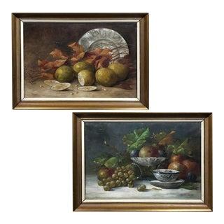 Pair Antique Framed Oil Paintings by Jos Van Uffelen Ca. 1925 For Sale