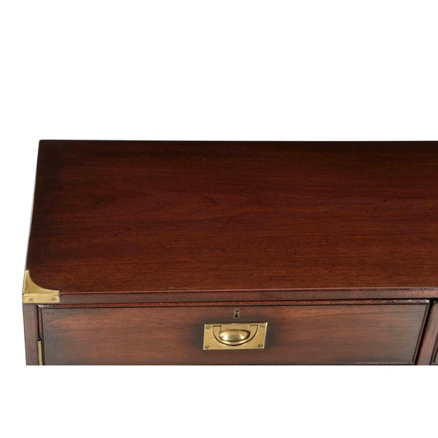 English Campaign Style Brass and Mahogany Side-by-Side Cabinet, 20th Century For Sale - Image 10 of 11