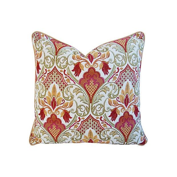 Large Custom French Embroidered Jacquard Pillow - Image 1 of 4