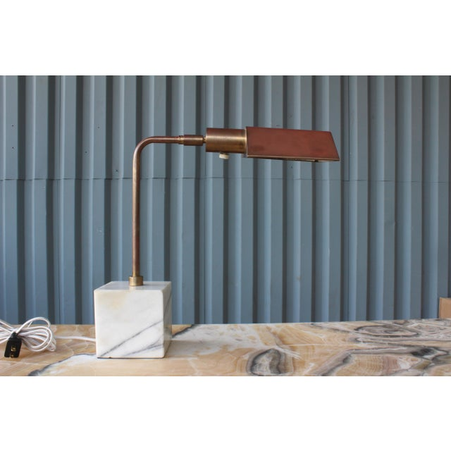 Koch and Lowy desk lamp. Marble base and brass with patina. Newly rewired.