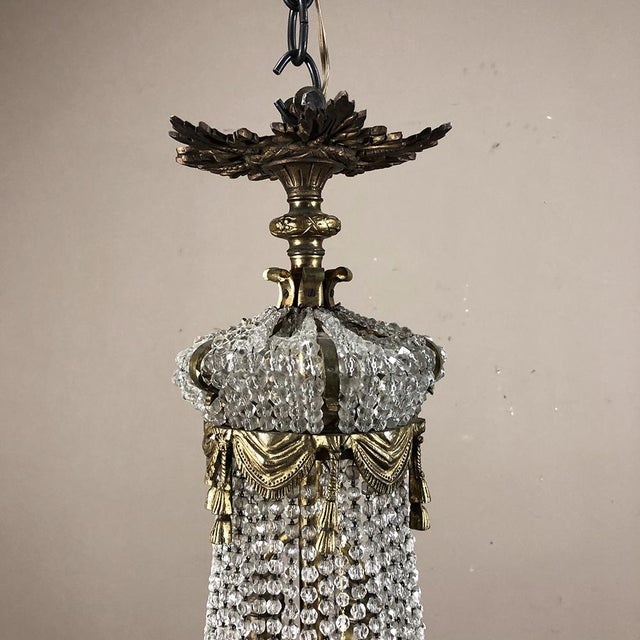 Mid-Century Modern Antique Sack of Pearls Crystal Chandelier For Sale - Image 3 of 13