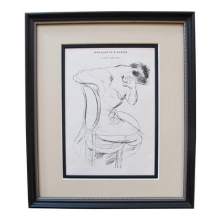 Original Paul Cesar Helleu 1890s Print, Sketch of a Woman