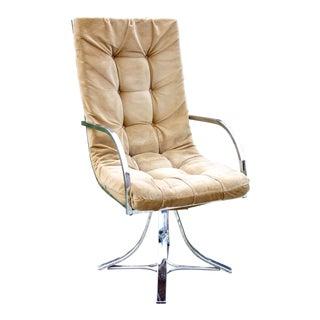1970s Vintage Mid-Century Modern Chrome Swivel Armchair For Sale