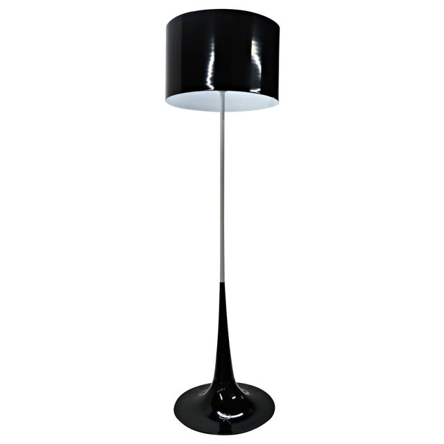 Mid Century Black & White Tulip Floor Lamp - Image 1 of 5