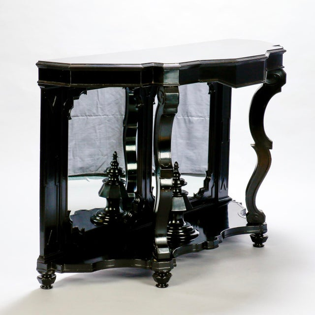 Italian Ebonised Mahogany Console with Mirrored Back For Sale - Image 4 of 10