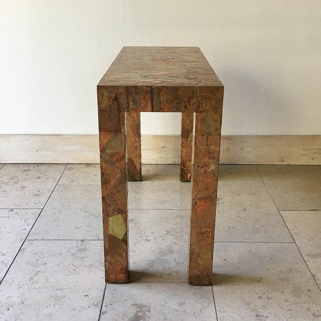 Mid-Century Modern Lacquered Copper and Brass Pathwork Console Table 1970s For Sale - Image 3 of 7
