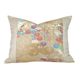 Secret Garden Japanese Silk Obi Pillow Cover For Sale