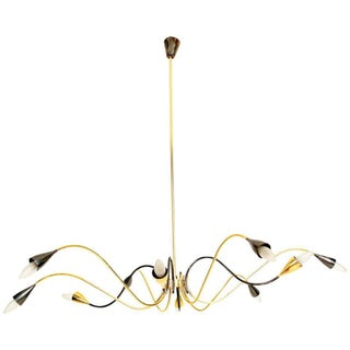 Spider Sputnik Stilnovo Style Ten-Arm Brass Chandelier Italy 1950s For Sale