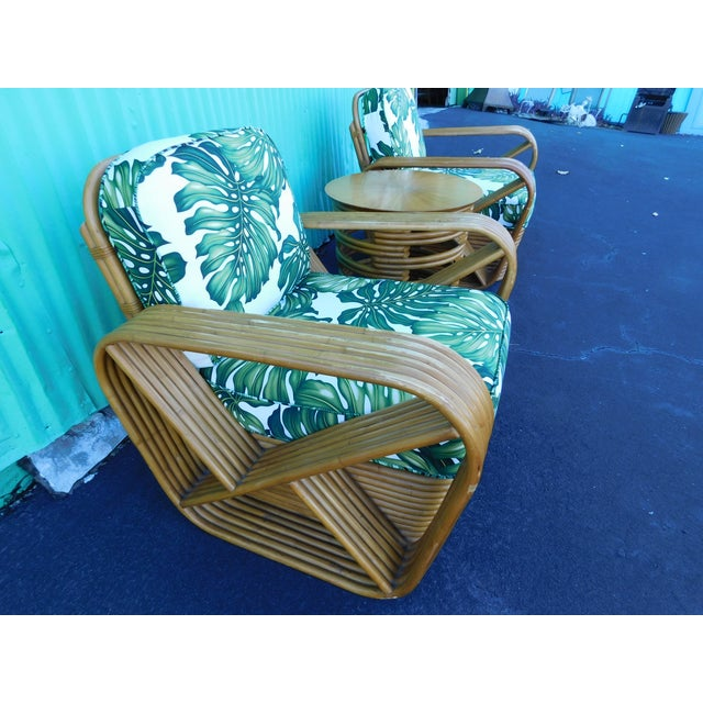 Paul Frankl Thirteen Strand Paul Frankl Rattan Chairs & Side Table - Set of 3 For Sale - Image 4 of 11