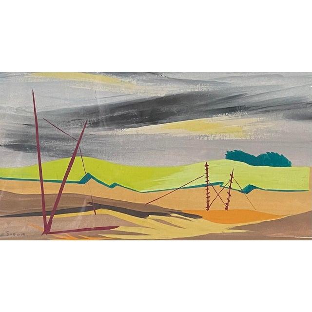 "Modern 1950s ""Mac Le Sueur"" Landscape Gouache Painting, Framed For Sale - Image 3 of 9"