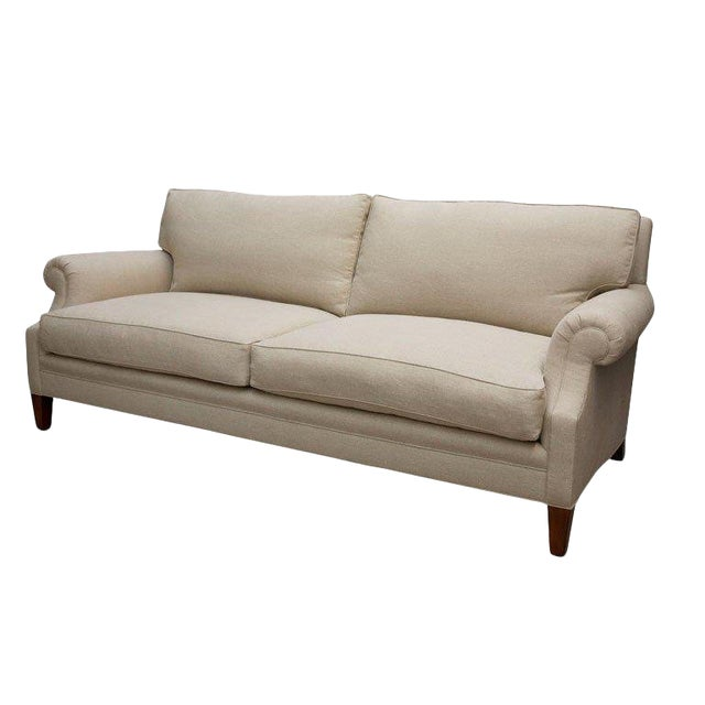 """Elton"" by Lee Stanton Upholstered Sofa in Belgium Linen or Custom Fabric For Sale"