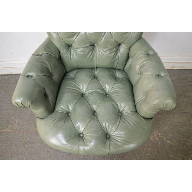 Regency Style Custom Quality Green Leather Tufted Library Wing Chair For Sale - Image 11 of 13