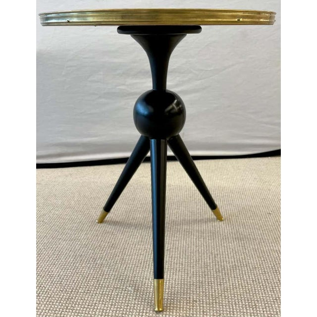 Mid-Century Modern Style End / Lamp Table Ebony Bronze Base and Rosewood For Sale - Image 4 of 13