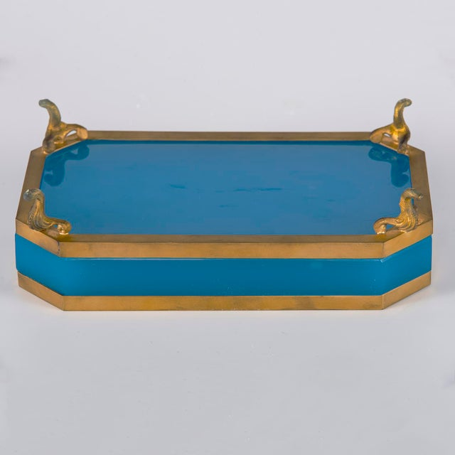 French Footed Blue Opaline Glass and Brass Dish For Sale In Detroit - Image 6 of 13