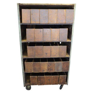 Storage Cabinet on Wheels Used for Cigar Display and Sale in 1900s General Store For Sale