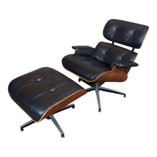 Plycraft Mid Century Modern Leather Lounge Chair & Ottoman-C1960s For Sale