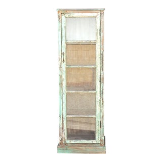 Early 20th Century Painted Slim Glass Cabinet For Sale
