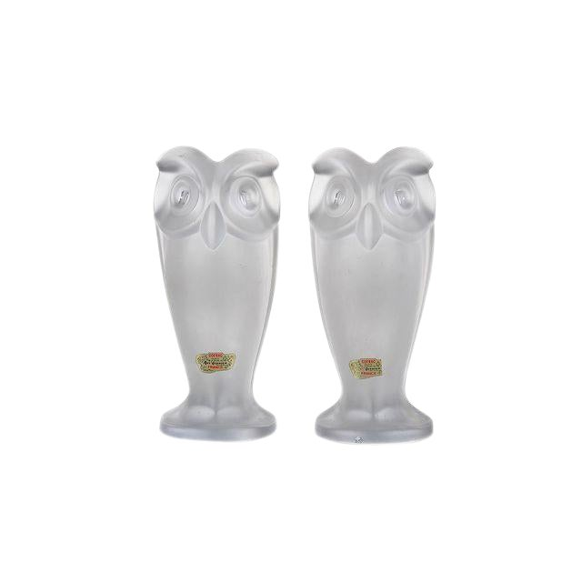 1960s Cofrac Owls Frost Glass Table Lamps - A Pair For Sale