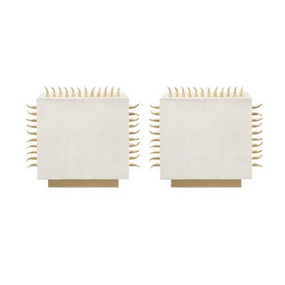 Cream Leather Side Table - Set of 2