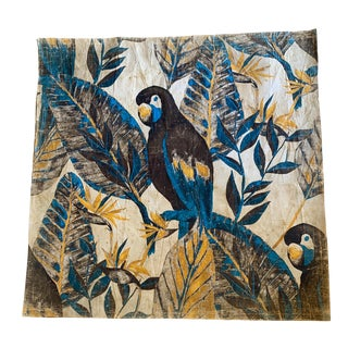 Hand Painted French Bird Panel For Sale