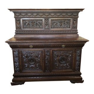 19th Century Italian Renaissance Carved Walnut Sideboard For Sale